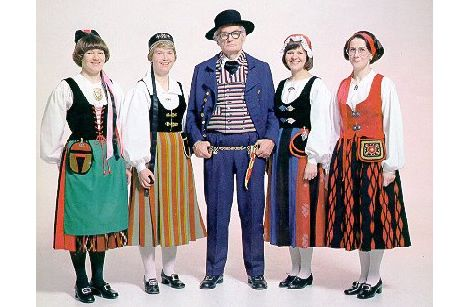 """You hear the words """"traditional Finnish costumes"""" and you might conjure up an image of these guys, hmm?"""