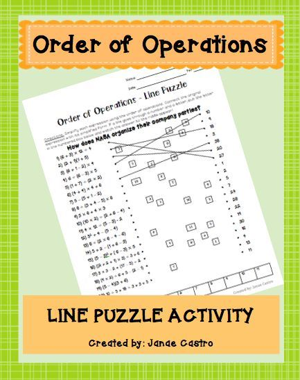 Order of Operations Line Puzzle Activity for middle school or high school algebra or pre-algebra students.