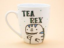 Tea Rex - ceramic mug - Hand decorated.