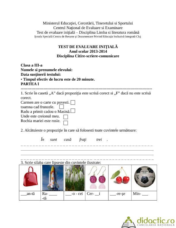 fisa de evaluare initiala citire- scriere-comunicare | monalisasmile | 14.03.2014
