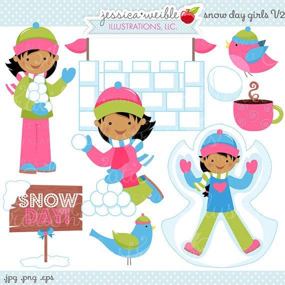 Snow Day Girls V2 Cute Digital Clipart от JWIllustrations на Etsy