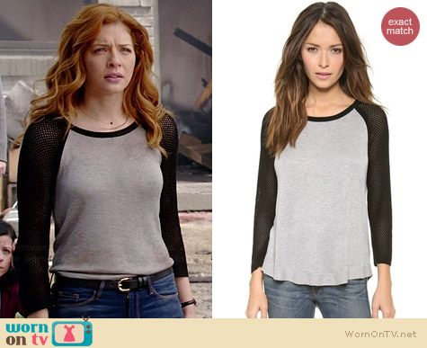 Julia's grey top with black mesh sleeves on Under the Dome.  Outfit Details: http://wornontv.net/35099/ #UndertheDome