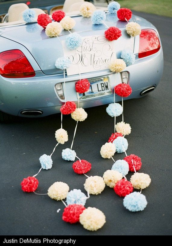 Such a prettier way to decorate a car.  No to condoms and beer cans decorating our car!