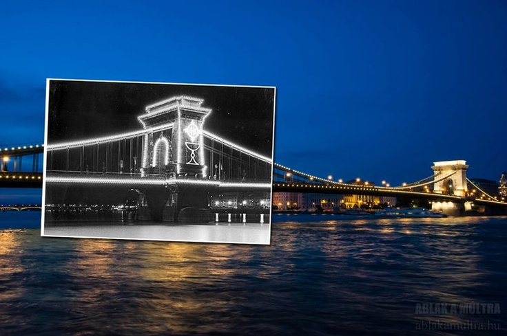 Budapest | Window to the Past  - Széchenyi Chain Bridge - at 34th Eucharistic Congress (May, 1938) and Now. #budapest #travel #thenandnow