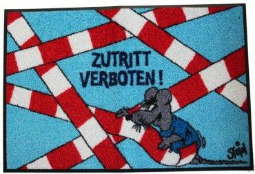 Waschbare Fußmatte - ©Uli Stein - Maus - Zutritt verboten! wash+dry 50x75cm