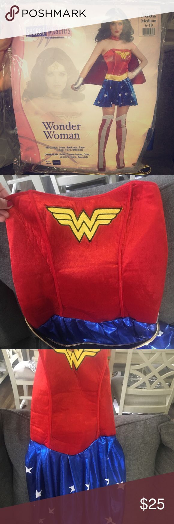 Wonder Woman Costume Get it now on sale before next Halloween! In great shape! Only worn twice and stayed at home both Halloweens so I was never out and about with it.   Comes with the dress, cape, boot covers, belt, wrist cuffs & headband.   Originally $50 at party city. Medium 6-10 .   Slight silver coloring on blue star skirt/ red cape— probably from washing it... never put it in the dryer. Barely noticeable, but I included an image for reference. Other
