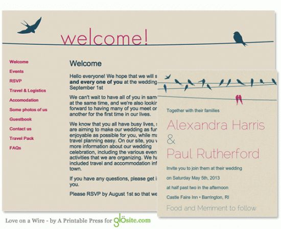 a new company announced by a practical wedding that offers wedding website templates and printable invitations