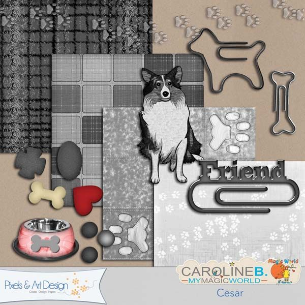 #PixelsAndArtDesign - Cesar4 papers and 11 elements (dog, paper clips, bowl, meal, tracks...) in grey with a touch of red.      Buy Now http://www.pixelsandartdesign.com/store/index.php?main_page=product_info&products_id=4056