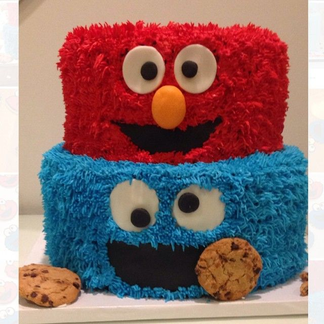 Elmo and Cookie Monster Cake