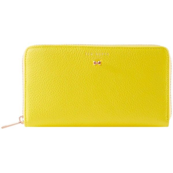 Ted Baker Pasy Large Mini Bow Zip Around Purse ($95) ❤ liked on Polyvore featuring bags, wallets, sale bags & luggage purses, ted baker, ted baker bag, mini wallet, bow wallet and yellow wallet