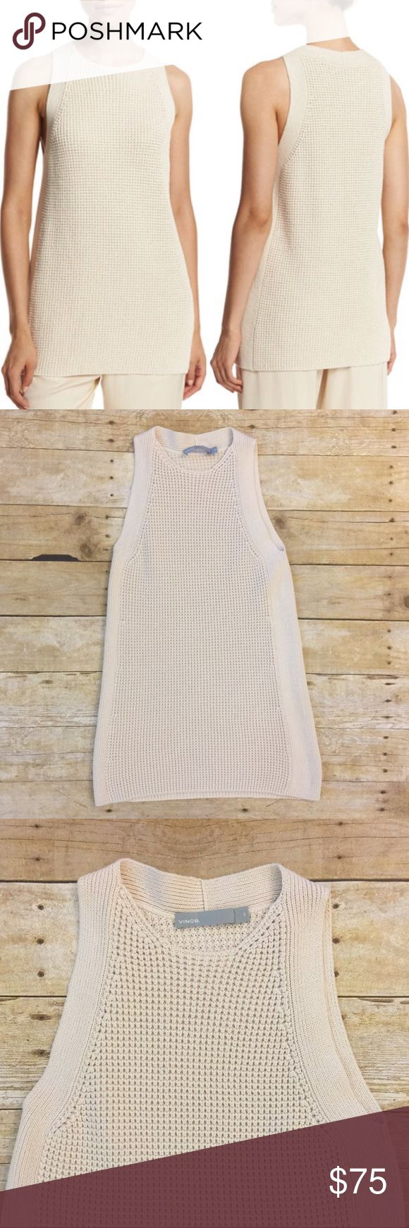 NWOT Vince Sleeveless Tunic Sweater Waffle-stitch tunic sweater with ribbed trim and crew neckline. Vince Tops