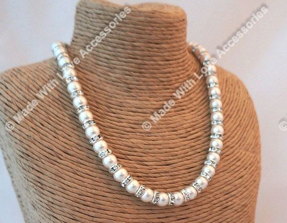 Pearl Necklace Bridal jewellery Swarovski by Makewithlovecrafts