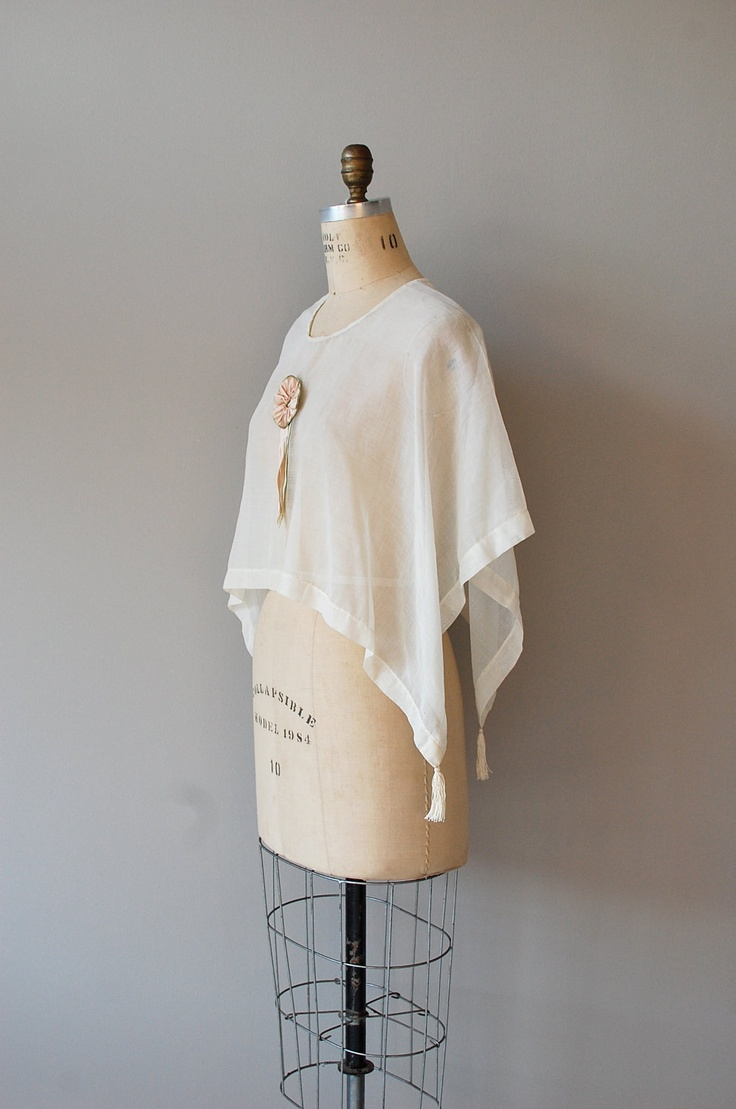 1920s blouse / sheer blouse / 20s clothing / Batiste Capelet - reference structure for hankerchief blouses