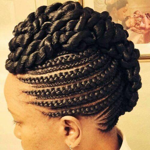 Elegant Ghana Braids Updo Black Girls Hairstyles