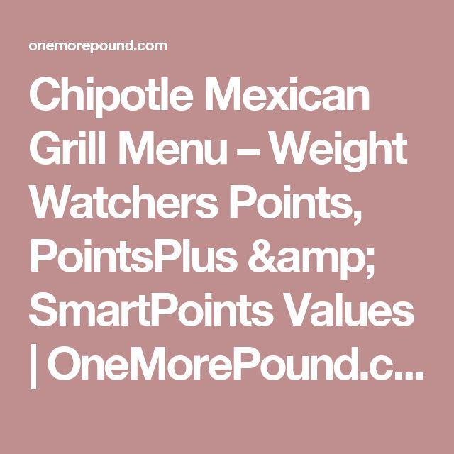 Chipotle Mexican Grill Menu – Weight Watchers Points, PointsPlus & SmartPoints Values | OneMorePound.com
