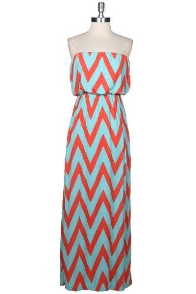 Coral & Mint Zig Zag Maxi Dress-coral and mint chevron dress, coral and mint chevron maxi dress, coral chevron maxi dress, mint chevron maxi dress