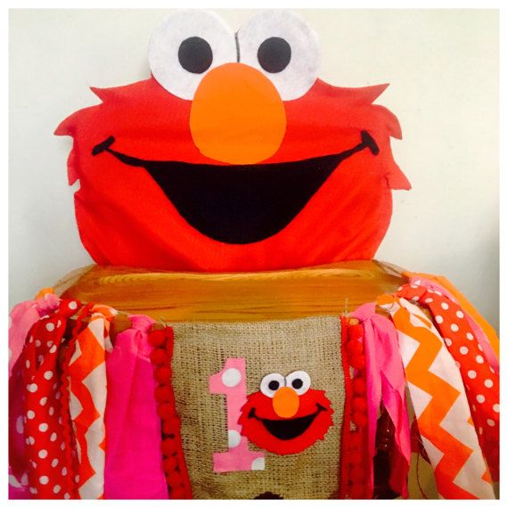 Elmo High Chair Banner & Cover girl High by FreckledStrawberrie