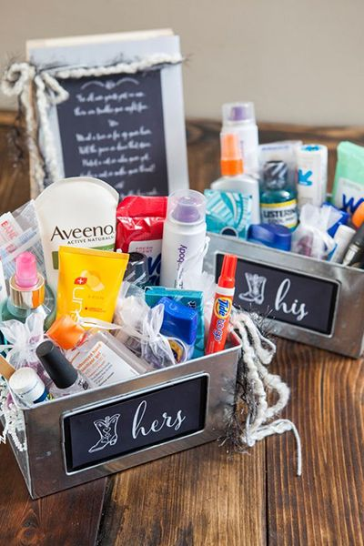 It's easy to overlook the bathroom when you're honed in on making the reception as gorgeous as can be. Put his and hers amenity baskets in the bathrooms in case guests need anything throughout the night. Mouthwash, stain removal pen, hairspray, Tylenol, and band-aids are just a few ideas to throw in there.