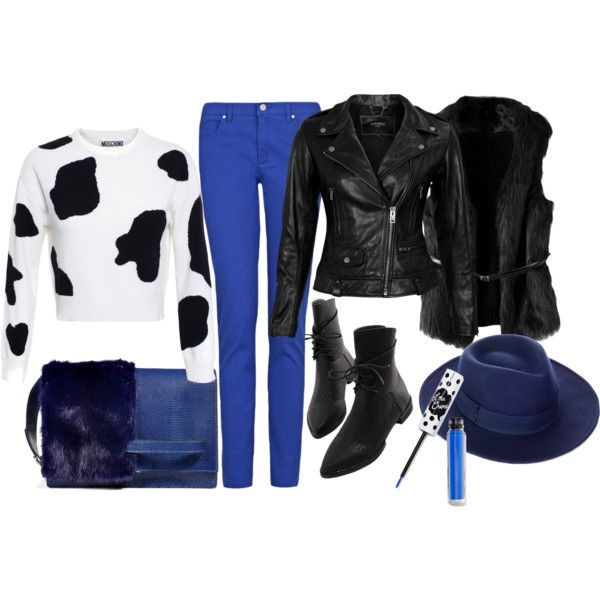 Blue-Black by ildikos on Polyvore featuring Moschino, VIPARO, MANGO, Valentino, Whistles and Lime Crime