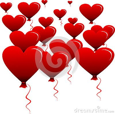 Glittering Heart-shaped balloons Vector.