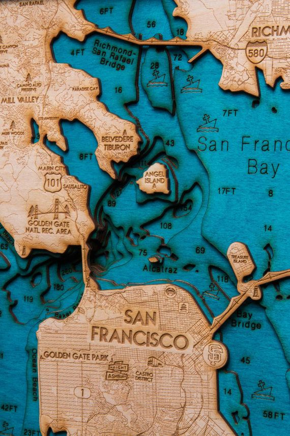 San Francisco Bay Wooden 3 D Map 13