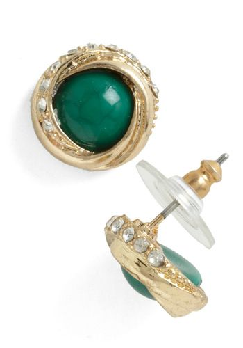 Around the Green Earring - Green, Gold, Party, Vintage Inspired