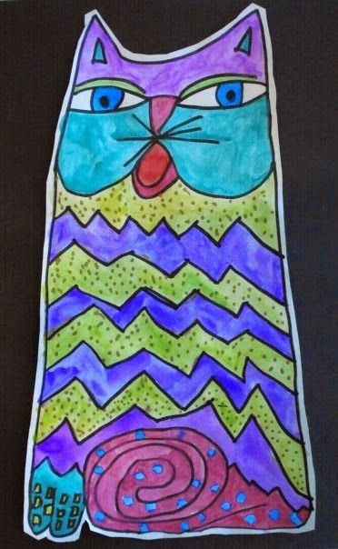 Laurel Burch Fantastic Felines | Art History Lessons | Use permanent marker and watercolors to create these stunning cat designs. Teach pattern and repetition.