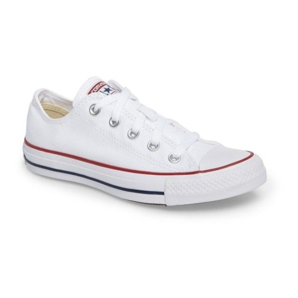 Women's Converse Chuck Taylor Low Top Sneaker ($50) ❤ liked on Polyvore featuring shoes, sneakers, optic white, american shoes, canvas sneakers shoes, white low tops, white shoes and white trainers