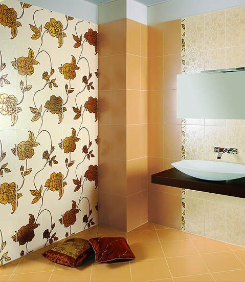 26 Model Bathroom Tiles Floral Design