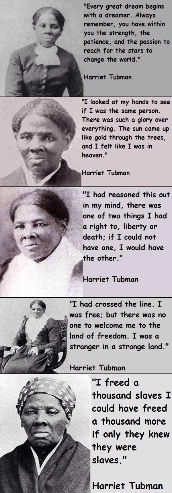 Harriet Tubman. Abolitionist, rescued slaves through the Underground Railroad.