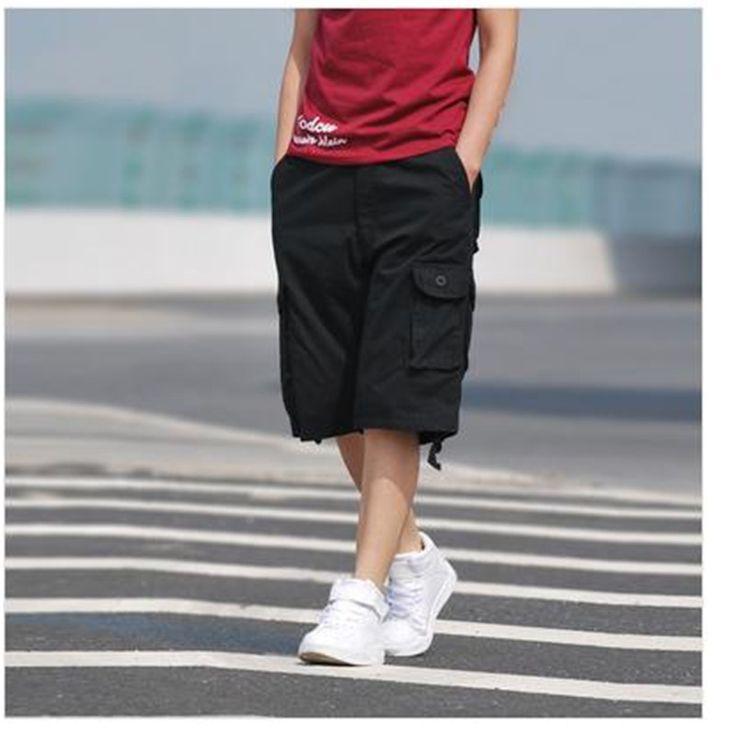 2016 Men's summer frock multi-pocket pants men's beach pants big yards loose, casual five pants plus size 30-44