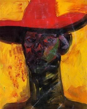 Self with Red Hat - Rainer Fetting