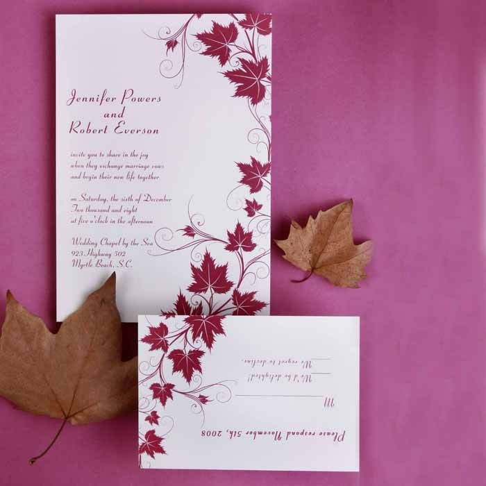 wedding card invite wordings%0A Shop modern fall maple leave wedding invitation With free response cards  from InvitesWeddings