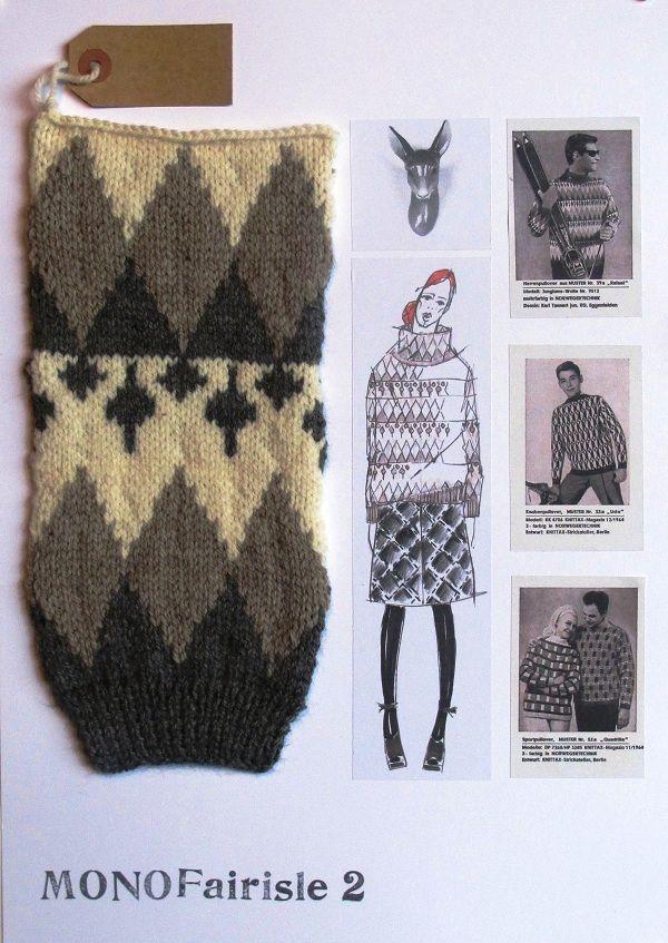 Fashion Sketchbook - fashion illustration, inspiration reference & knit sample; mono fair isle patterned knitwear design board