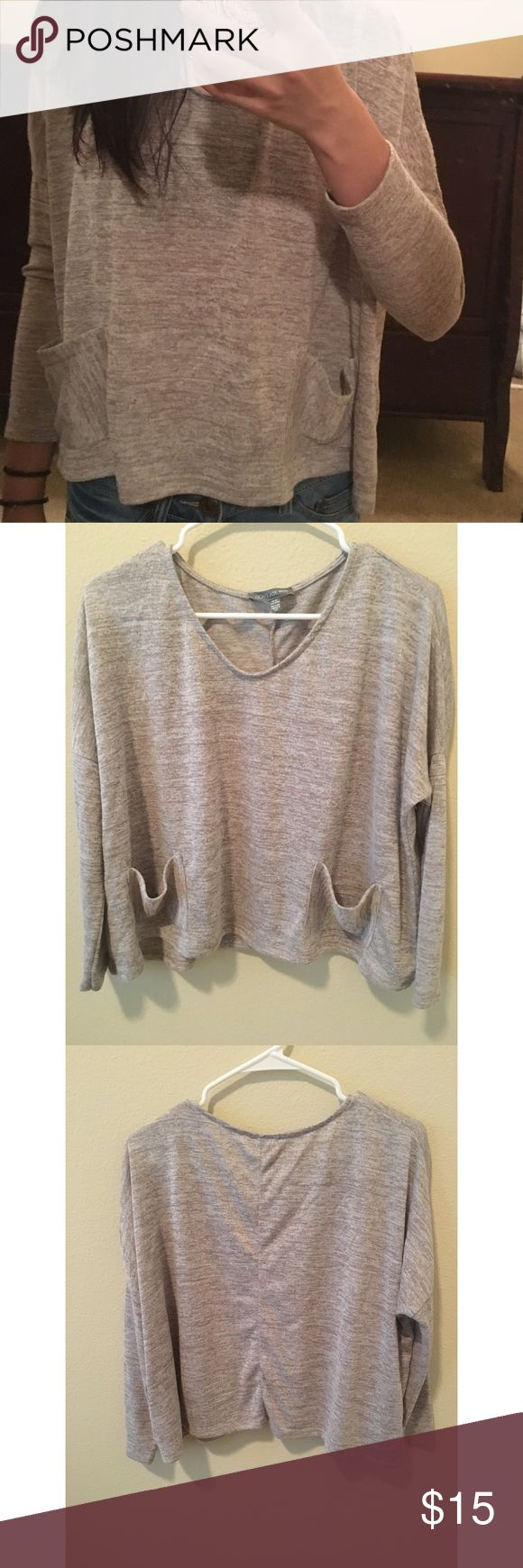 "Cream Long Sleeve Top!! very light and perfect for layering! comes with two pockets and is from the ""don't ask why"" collection at American Eagle. worn only once and in great condition! American Eagle Outfitters Tops Tees - Long Sleeve"