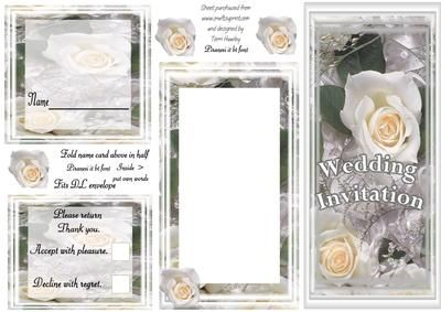A full set of wedding stationary, with soft cream roses. Includes Invite front, inside, where you put your own words, a place card for the tables, and a return card, with accept or decline.