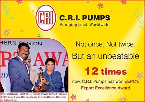 CRI Pumps has been Conferred the EEPC's Export Excellence Award for the 12th Time. #agriculturepumpsmanufacturerindia #residentialpumps #industrialpumpsmanufacturer #solarpumpscoimbatore #solarpumpingsystem #pvcwiresandcablessellers #upvcpipemanufacturers #valvemanufacturersincoimbatore #CRIpumps