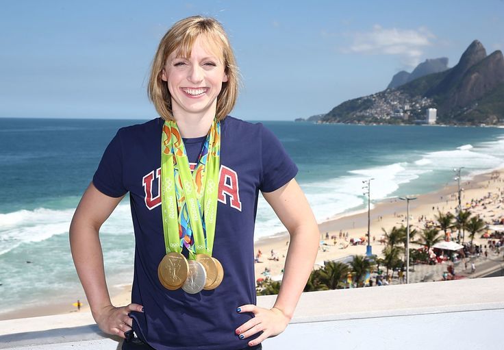 U.S. Olympian Katie Ledecky poses with her Olympic Medals 2016 in Rio de…