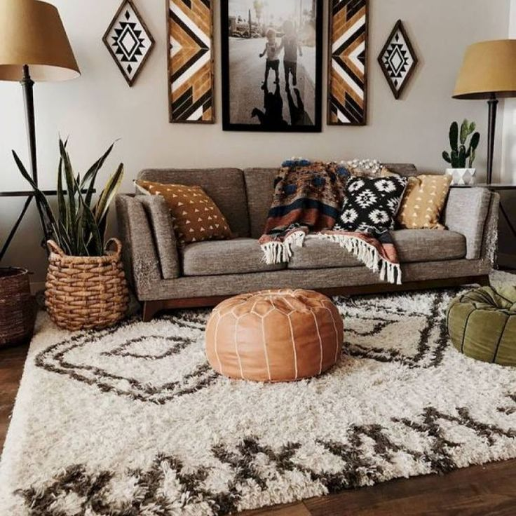 Room Redo Vintage Warm Neutral Bohemian Living Room Design