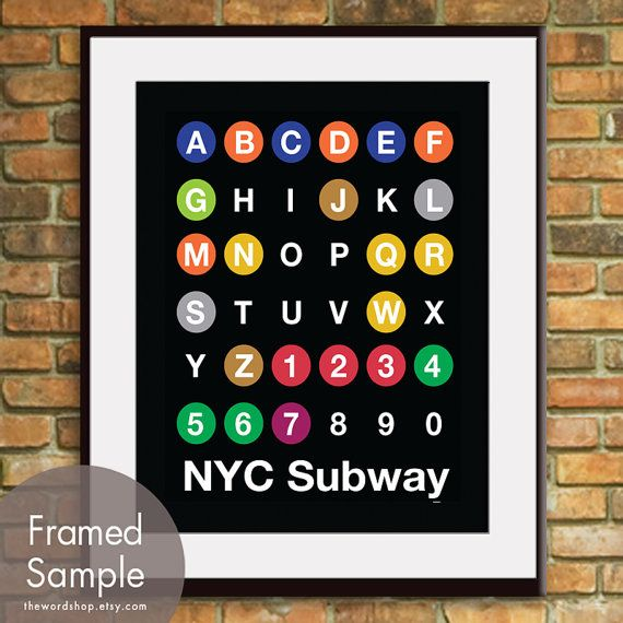 NYC ABC Lines NYC inspired Subway Sign Art11x14 by TheWordShop, 15.95