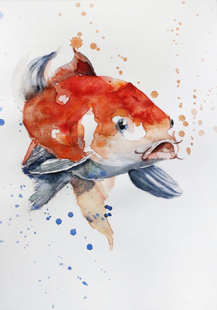 Original Aquarellmalerei Koi Fish Gold Fish Sea Kinderzimmer Kunst