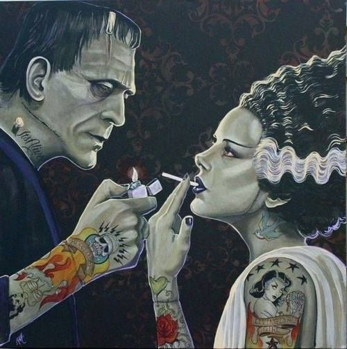 "tattoome: "" Till death do us part, oh wait.. Follow my blog with Bloglovin, thanx "" #frankensteinsmonster #brideoffrankenstein"