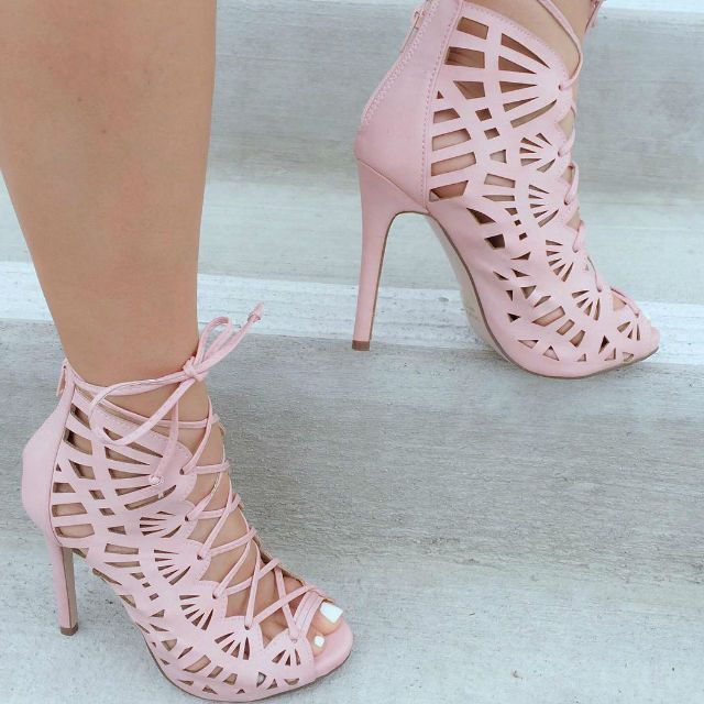 Perforated Lace Up Peep Toe Heels