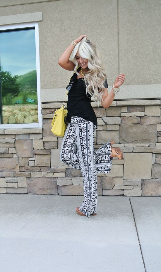 Love these Tribal pants with black tee... so cute