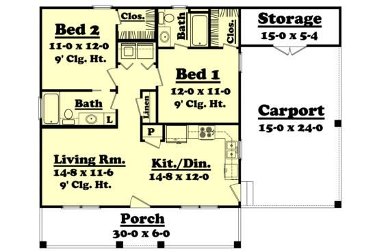 House Plan 041 00025 Cabin Plan 900 Square Feet 2 Bedrooms 2 Bathrooms House Small