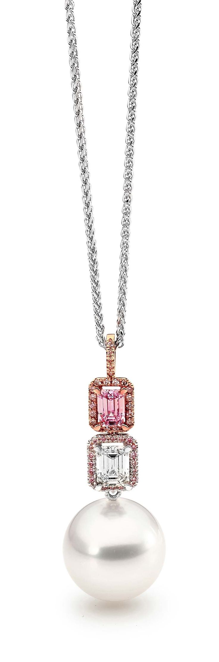 Linneys pendant necklace in white and rose gold with an Australian South Sea pearl, a pink diamond and a white diamond.