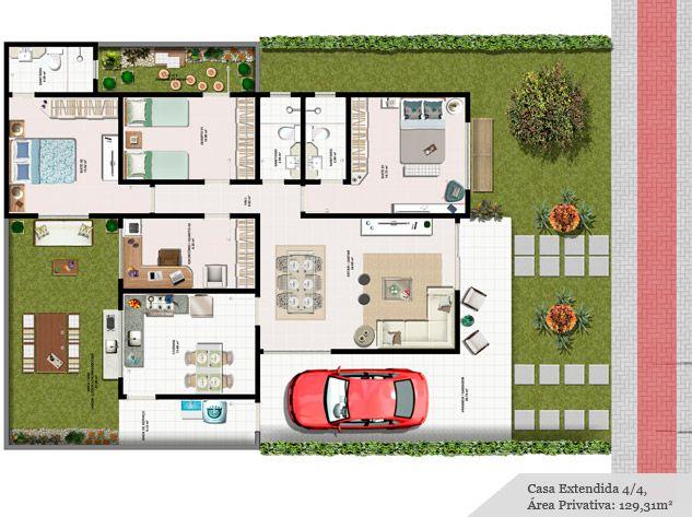Planta de casa for Jardins mangueiral planta 3 quartos