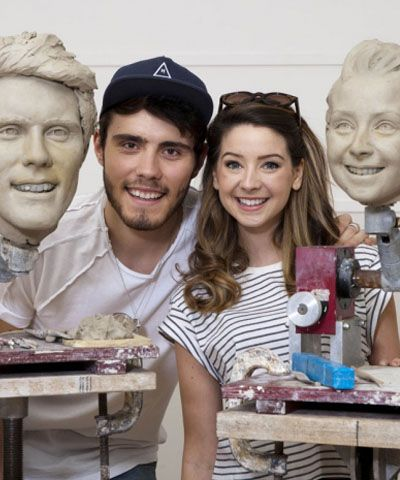 Zoella and Alfie Deyes with their Madame Tussauds Waxworks!