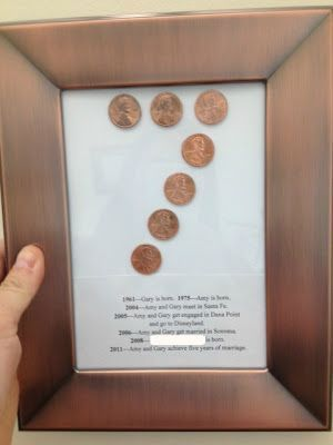 A handmade 7th wedding anniversary gift on a budget using pennies.  (7th anniversary gifts are copper/wool) Anniversary gift ideas #anniversarygifts