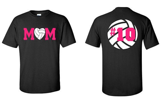 Volleyball Mom Shirt with Number Adult T-Shirt by VinylDezignz